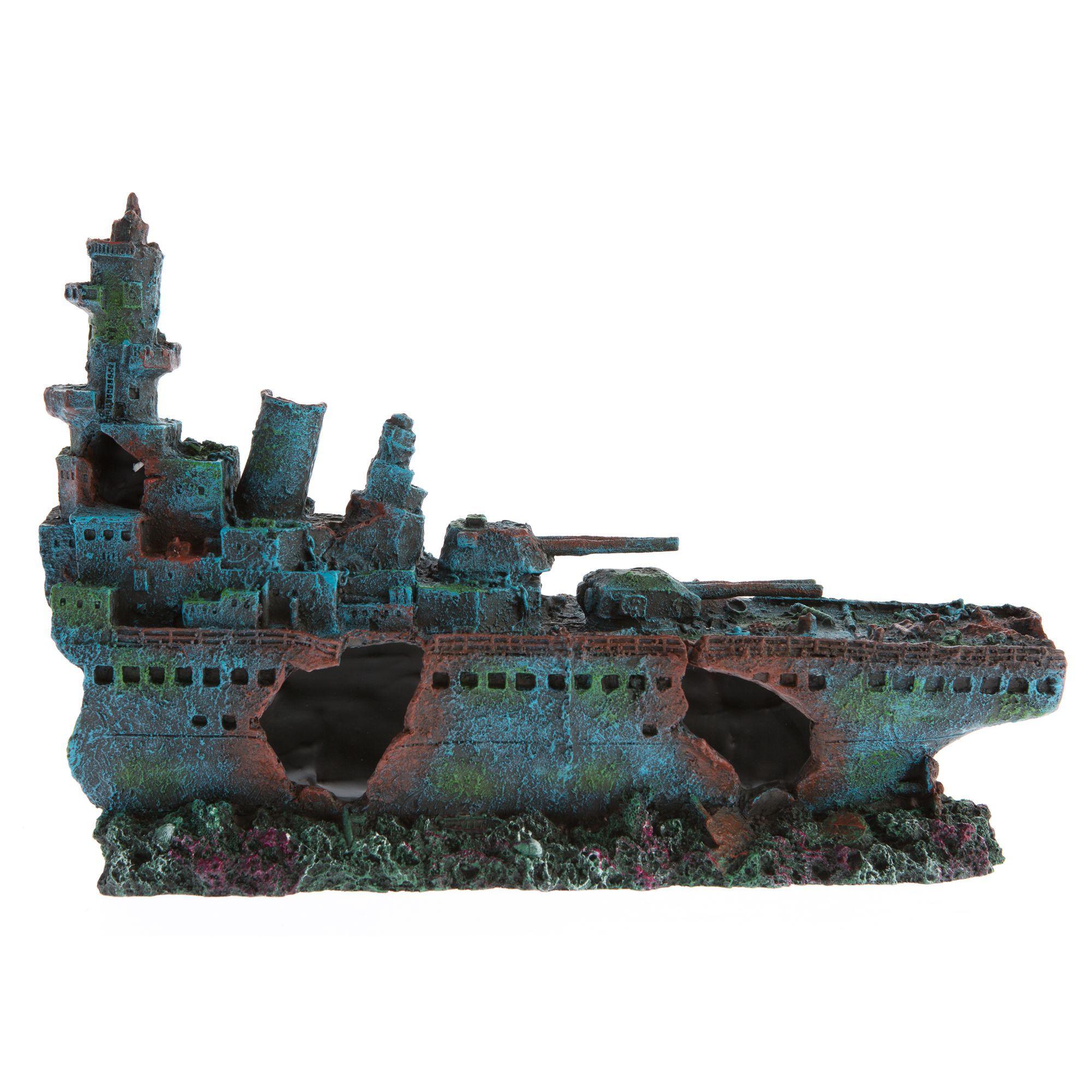 Top Fin Battleship Aquarium Ornament Fish Tank Accessories Aquarium Ornaments Aquarium Accessories