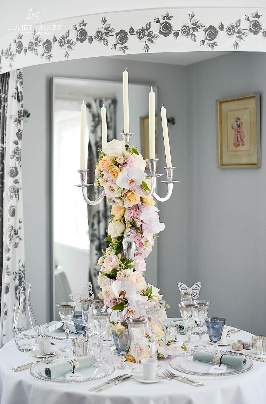 Pastel Wedding Flowers. Table Arrangement. Pink Peach