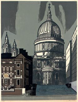 St. Pauls (1964) Linocut. Edition of 100.