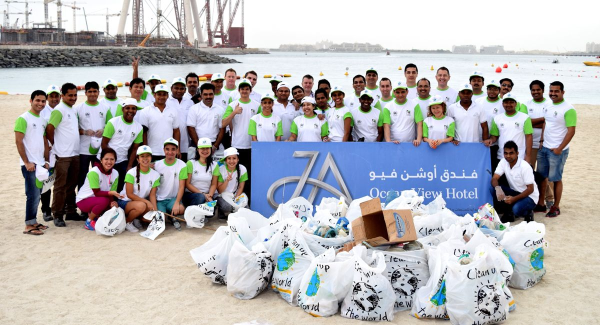 """Our #JAOceanViewHotel team hit #JBR Beach & spent the morning collecting rubbish & raising awareness of """"Our Place...Our Planet...Our Responsibility"""", as part of the """"Clean up the World"""" initiative supported by#JAResorts, Dubai Municipality & the United Nations Environment Programme (UNEP)! Please support by doing your part to support & respect the #environment.  #JAEcoWatch #CleanUpTheWorld #MyDubai"""