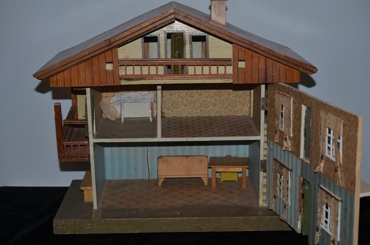 Antique Wood Dollhouse Gottschalk Chalet Style Red Roof Two Story