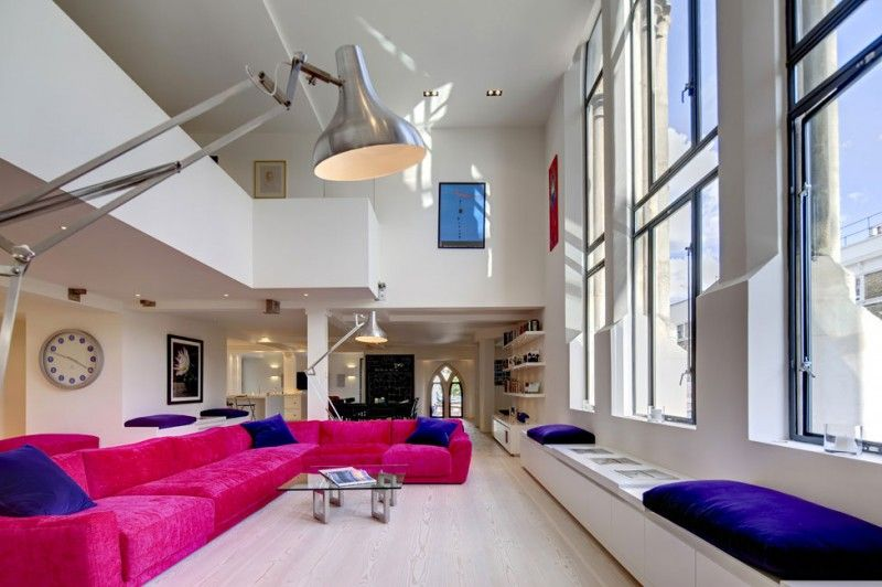 Groovy Residence Interior Converted from Old Church: Pink Sofa White Interior White Bench Design ~ biawow.com Bathroom Inspiration
