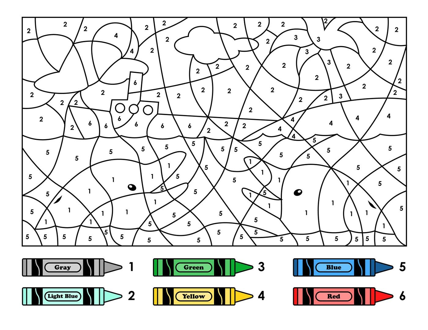 Color By Number Worksheets Hidden Picture With Free Color