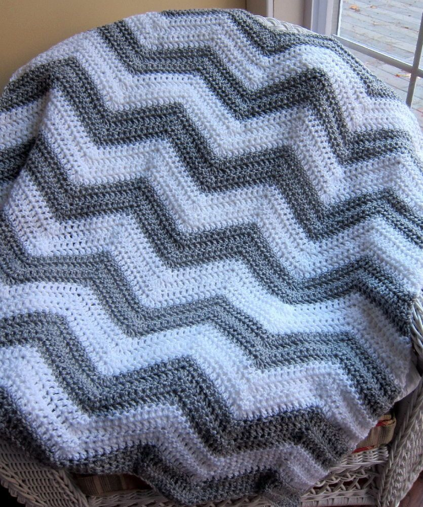 Crochet baby blanket afghan wrap chevron ripple handmade vanna crochet baby blanket afghan wrap chevron ripple handmade vanna white grey yarn bankloansurffo Image collections