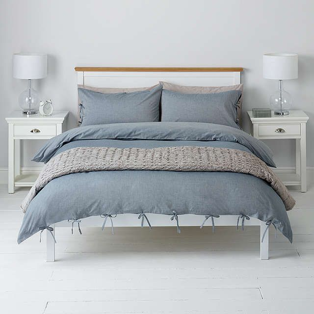 BuyJohn Lewis Chambray Ties Duvet Cover And Pillowcase Set, Double, Blue  Online At Johnlewis