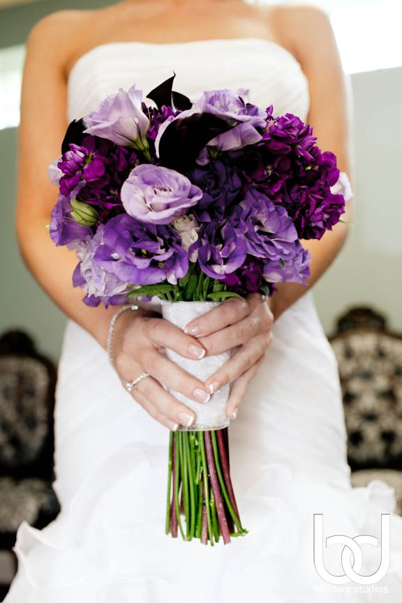 Dark Purple and Green Bouquet of Forever Blooming Flowers  Repurposed Art