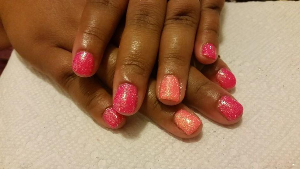 Nails By Kenia Gelnails Glitternails Hotpinkandcoralnails Summernails Summer Nails Gel Nails Nails