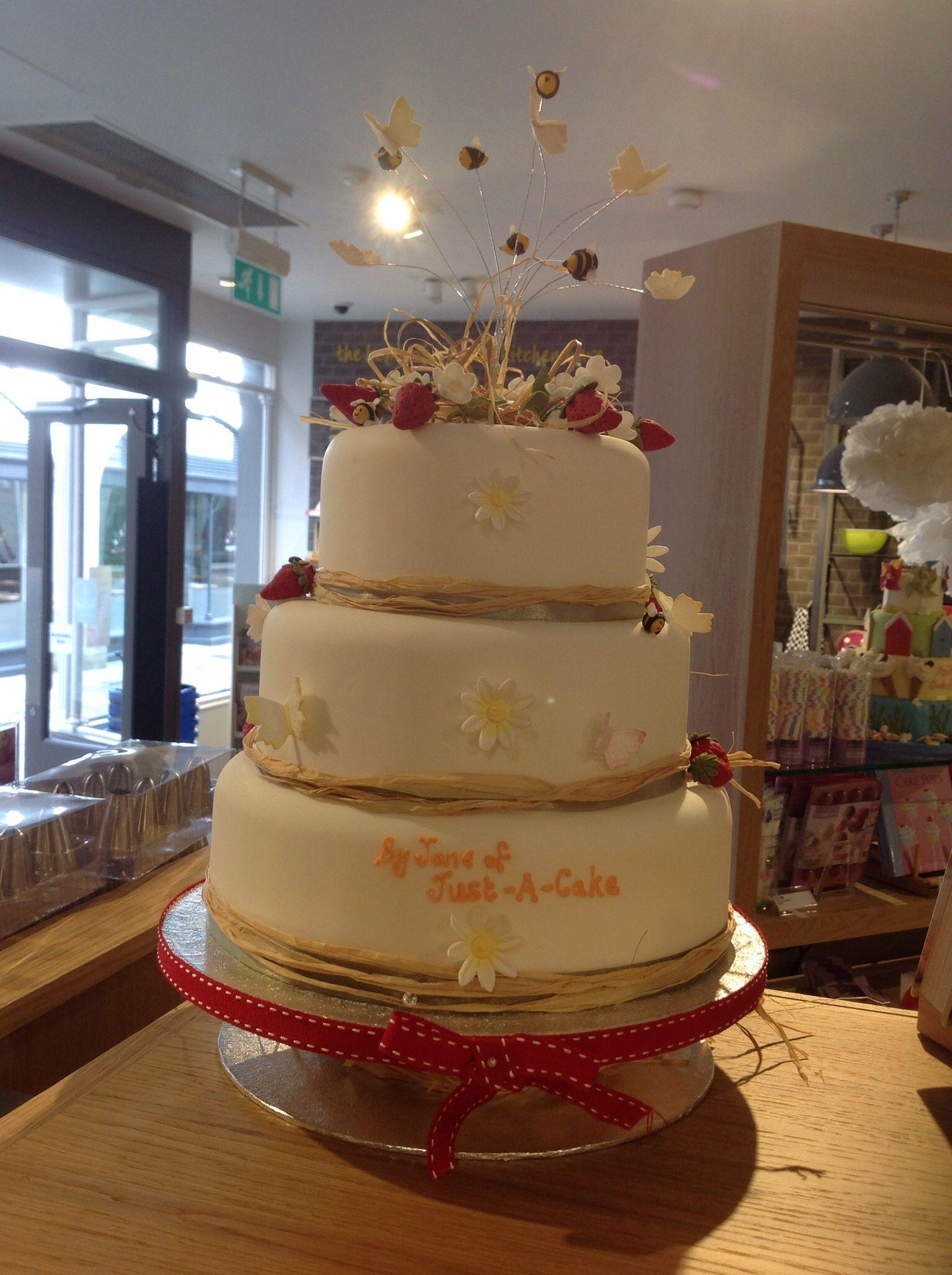 Summer themed cake on display at Lakeland store Canterbury Kent