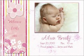 Templates And Textures Free 4x6 Baby Girl Announcement With