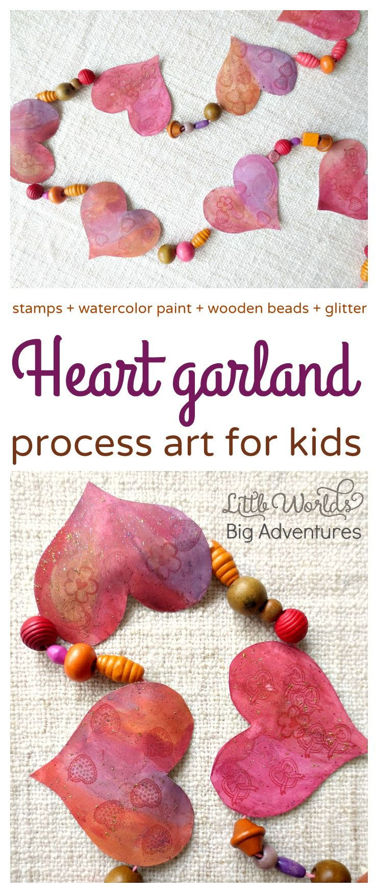 This heart garland is a fun process art activity for kids of all ages. | Little Worlds Big Adventures