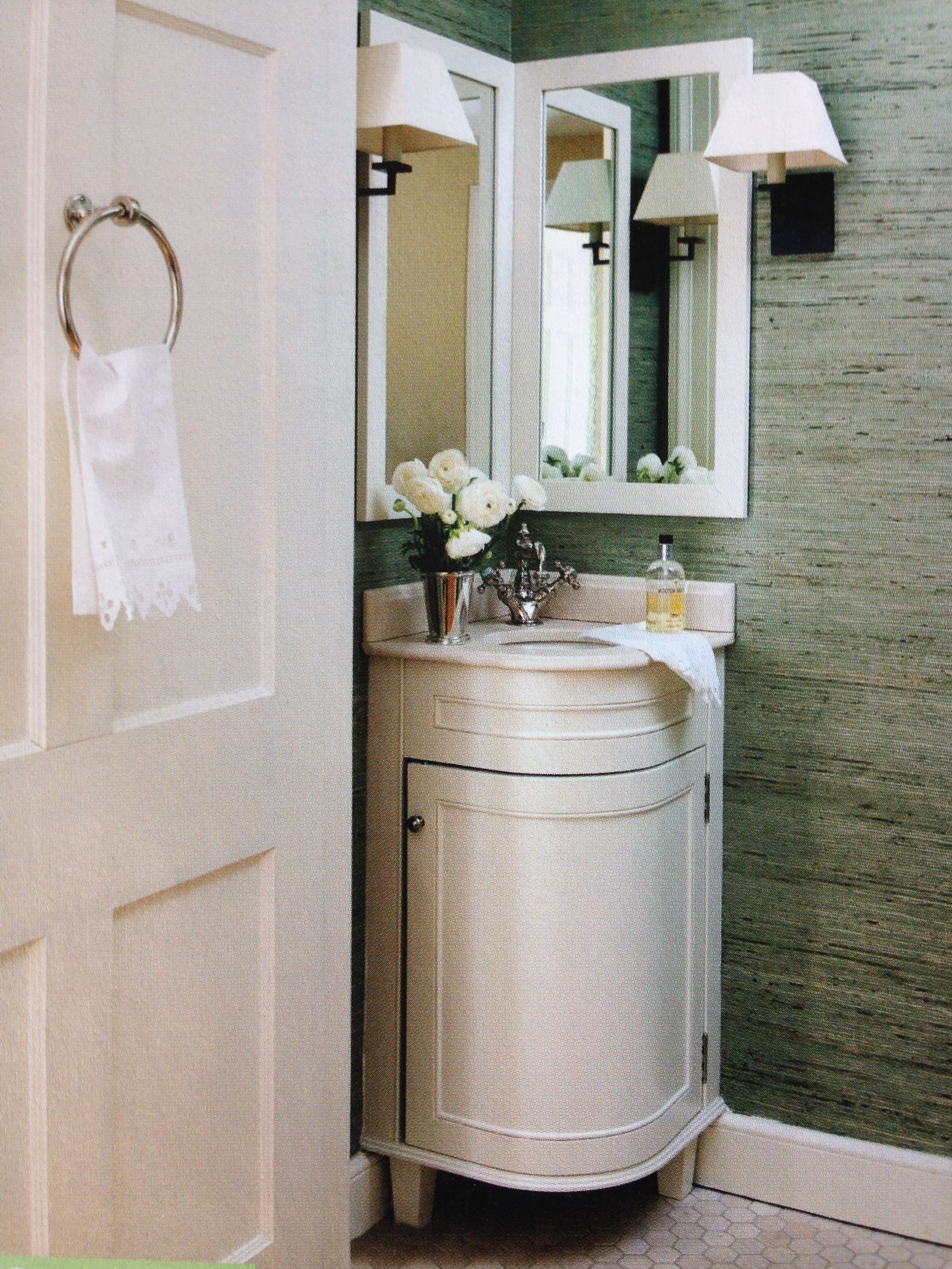 Perfect For Small Powder Room Love The Corner Vanity Corner