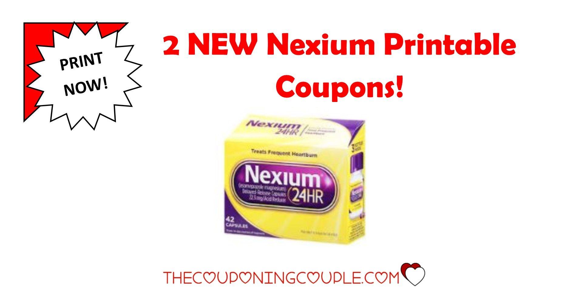 2 New Nexium Printable Coupons 7 In Savings Print Now Printable Coupons Coupons Printables