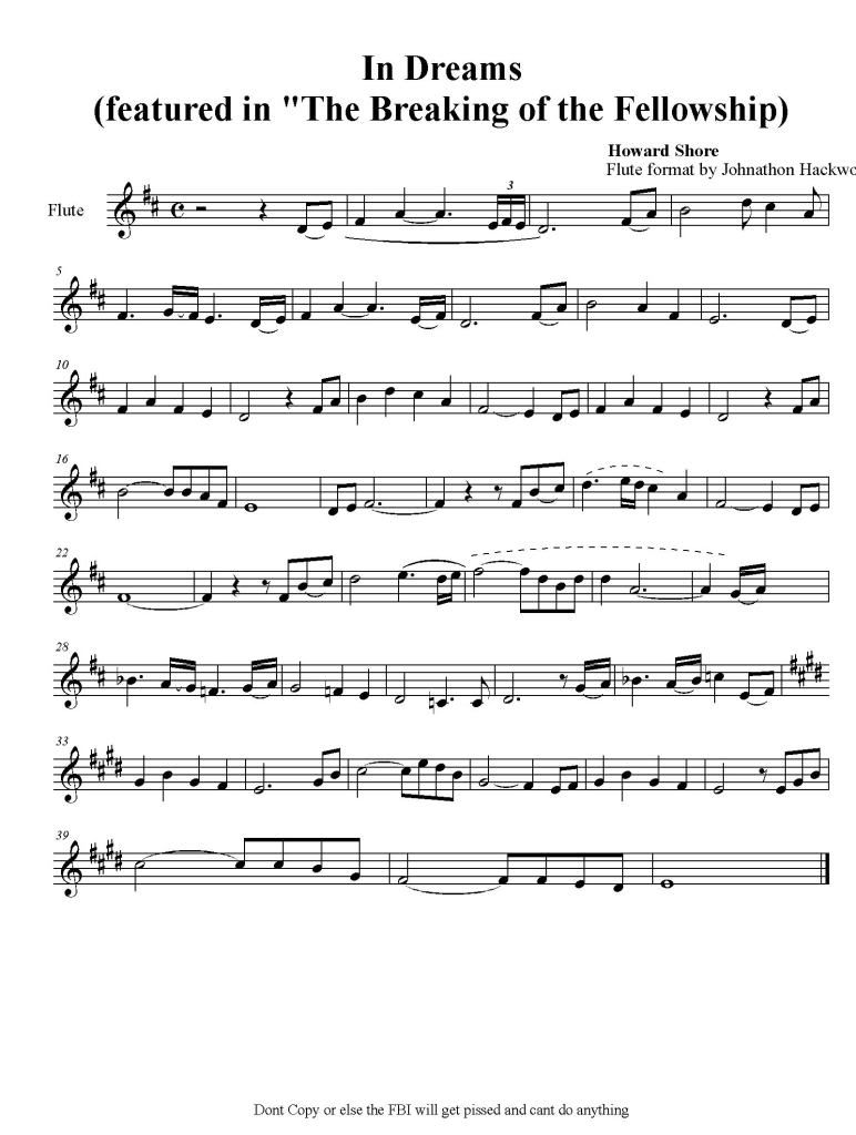 Concerning Hobbits The Lord Of The Rings Sheet Music