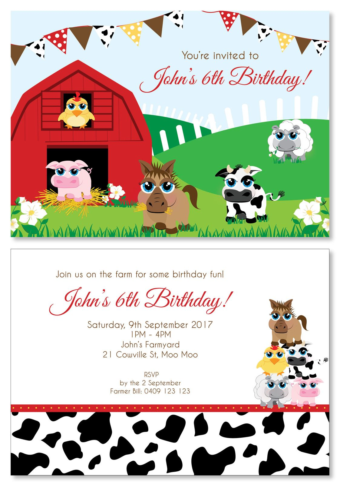 Farm Animal Party Personalised Party Invitations - Custom Printed ...