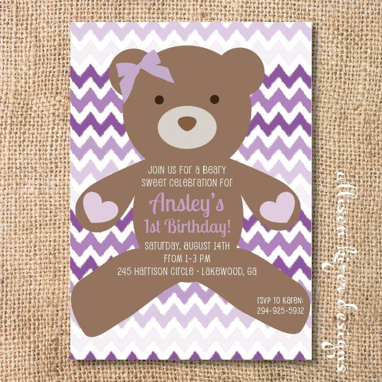 Purple Teddy Bear Birthday Party Invitation Printable Beary Sweet ...
