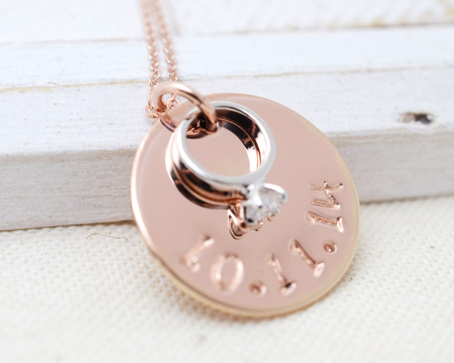 Engagement Necklace - Rose Gold & Sterling Silver Solitaire Ring ...