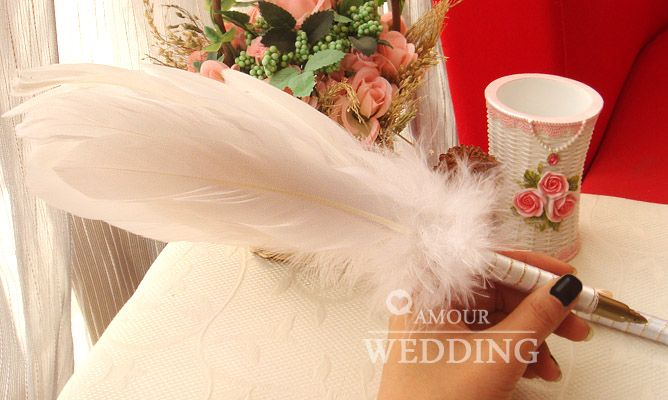 White feather pen for signing wedding attendance book,USD27 free shipping,8280371585
