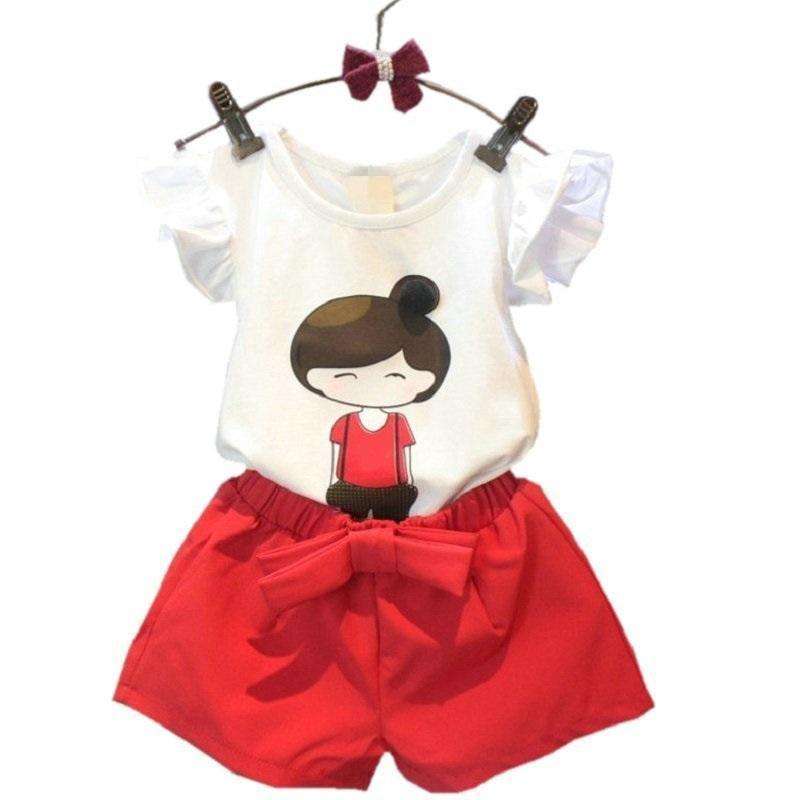 bfa07226633 Barato 2017 Estilo Verão Roupas Meninas Dos Desenhos Animados T shirt Curto  Da Calça Roupas de Algodão das Crianças Casual Crianças Ternos para 2 3 4 5  6 7 ...