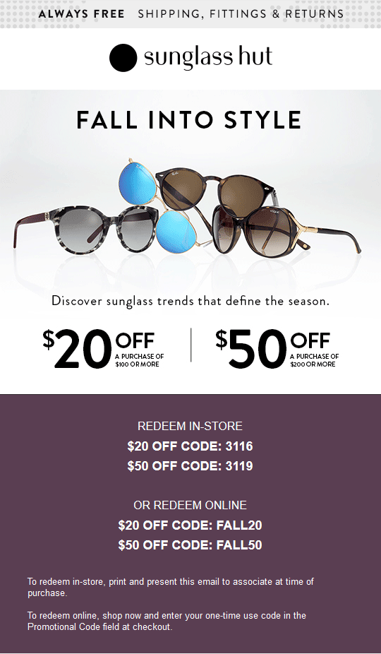 5db5cfb2b5c8 Pinned September 26th: $20 off $100 & more at Sunglass #Hut or online via  promo code FALL20 #coupon via The #Coupons App