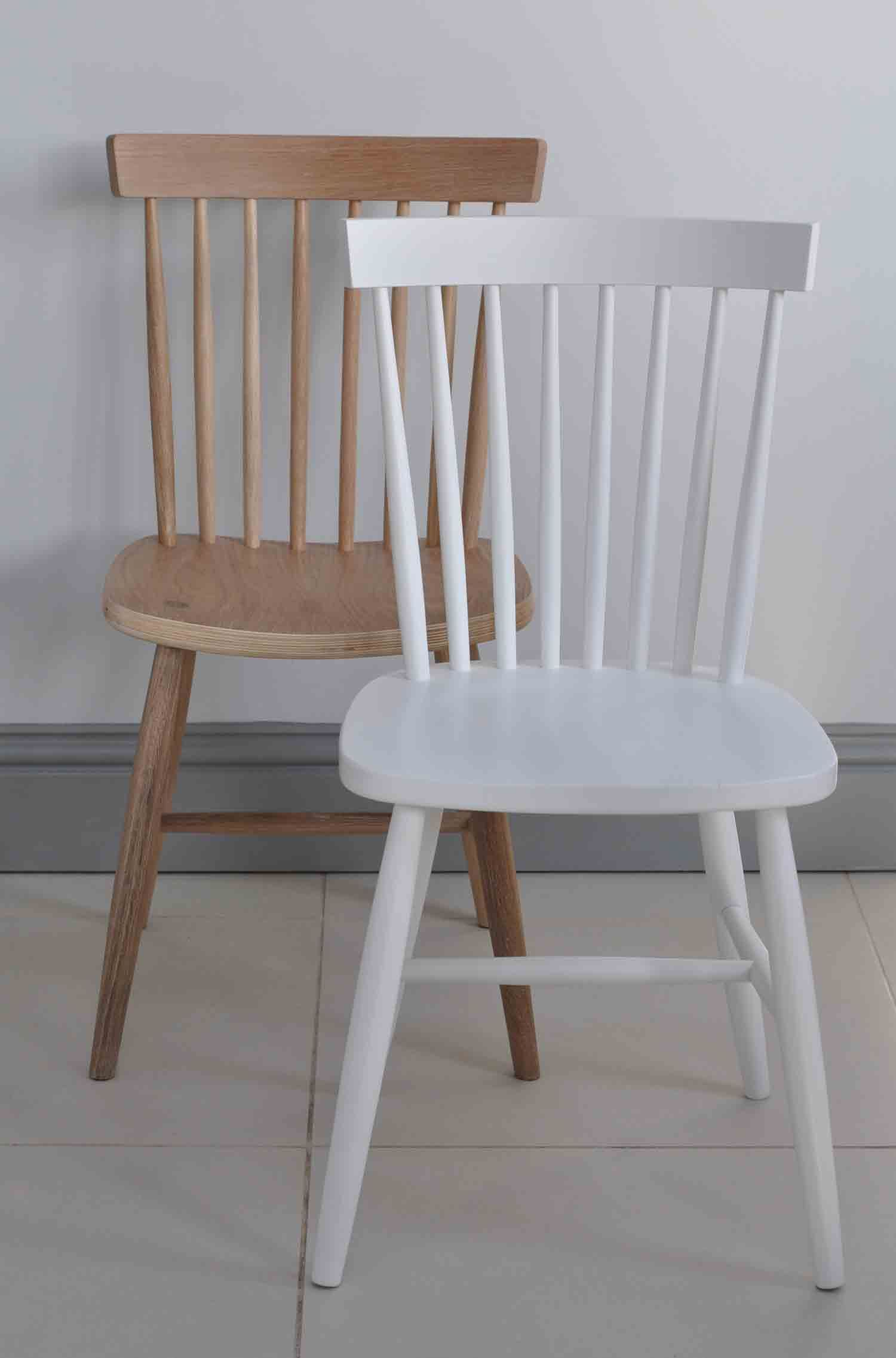Elegant Oxford Spindle Back Dining Chair   White Painted Or Natural Oak Available  In Two Finishes .