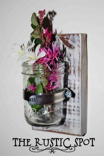 Country Vase Wood Sconce Mason Jar Wall Vase French Country Decor