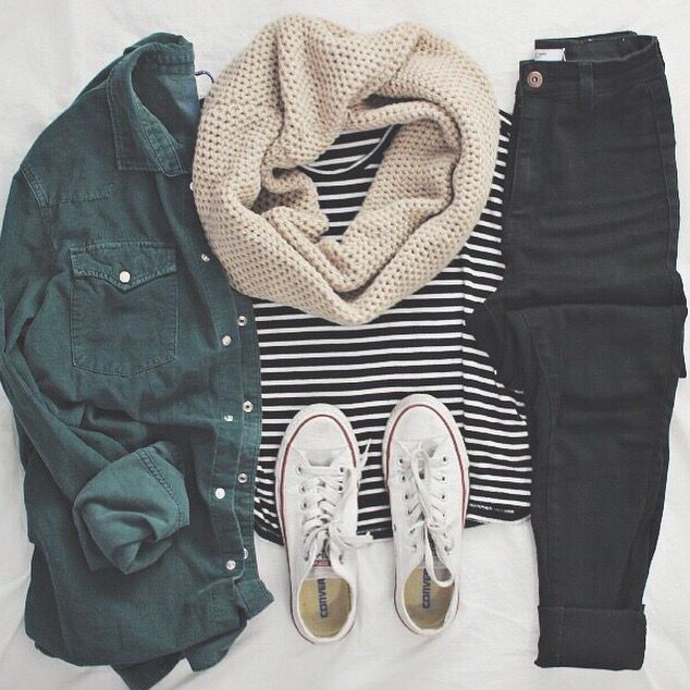 olive, skinnies, camel, stripes, black skinnies - maybe with black converse  or black boots?