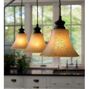Easy-Install Textured Linen Glass Shade Pendant Lighting, in Bronze Finish ($49)