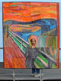 Art Projects for Kids: halloween.  The Scream. Each student/pair does a section in the grid?  Focus: color. Scale. Attention to detail.