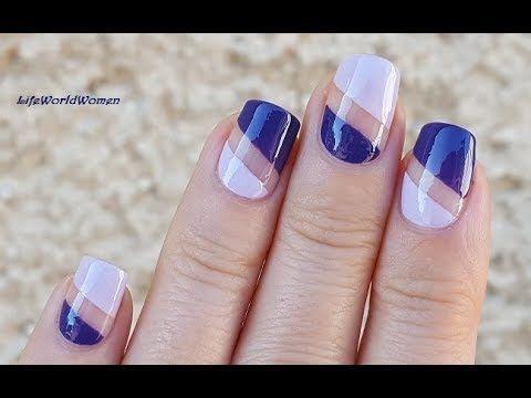 Purple Scotch Tape Nail Art Easy Negative Space Nails Design