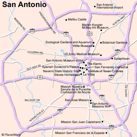 Map of San Antonio Attractions Some attractions within Map of