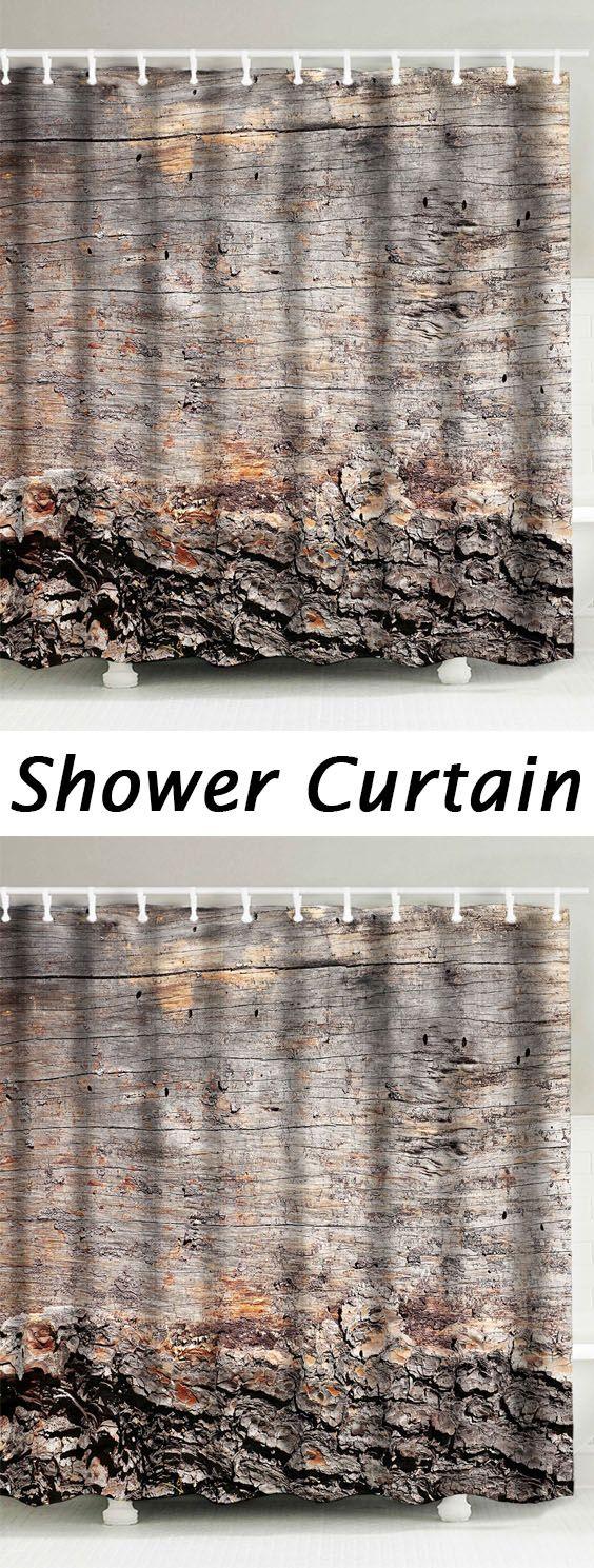 wood grain fabric waterproof shower curtain