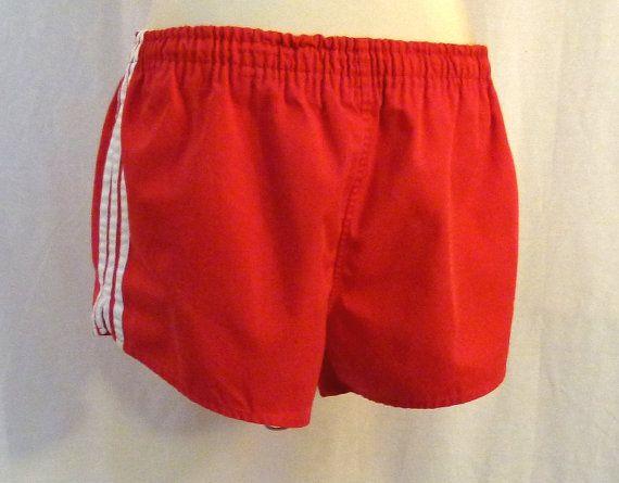 70s Shorts Red Shorts Adidas Shorts Red Gym Shorts 1970s Mens ...