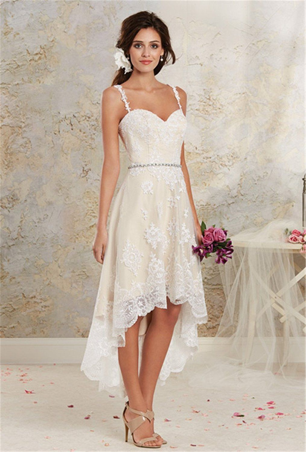 Cute  Vintage High Low Country Wedding Dresses Cheap New Sexy Spaghetti Lace Tea length Short Detachable