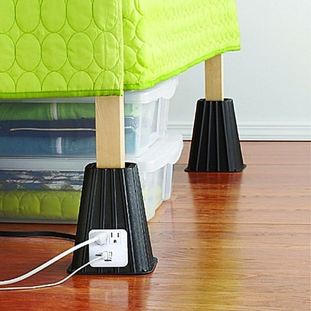 College bed risers - Power Bed Riser Set Of 4 With Built In Charging Outlets Give You Flexibility And Space Under The Bed For Storage Works Great For Twin Sized Beds