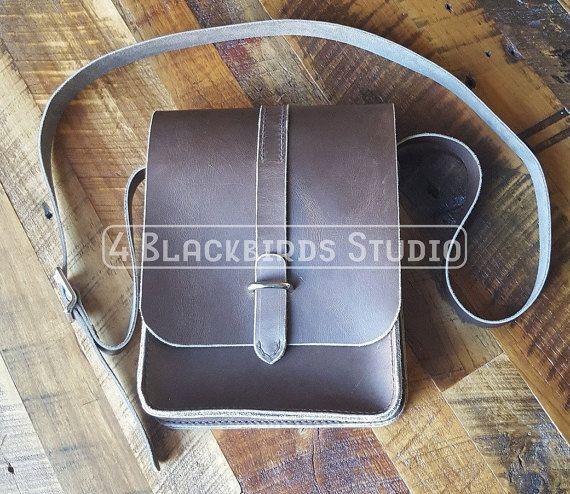 Leather Messenger Bag  iPad Tote  Crossbody by 4BlackbirdsStudio