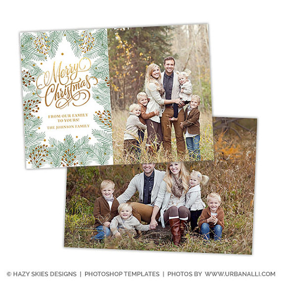 Christmas Card Template for Photographers, Christmas Photo Card