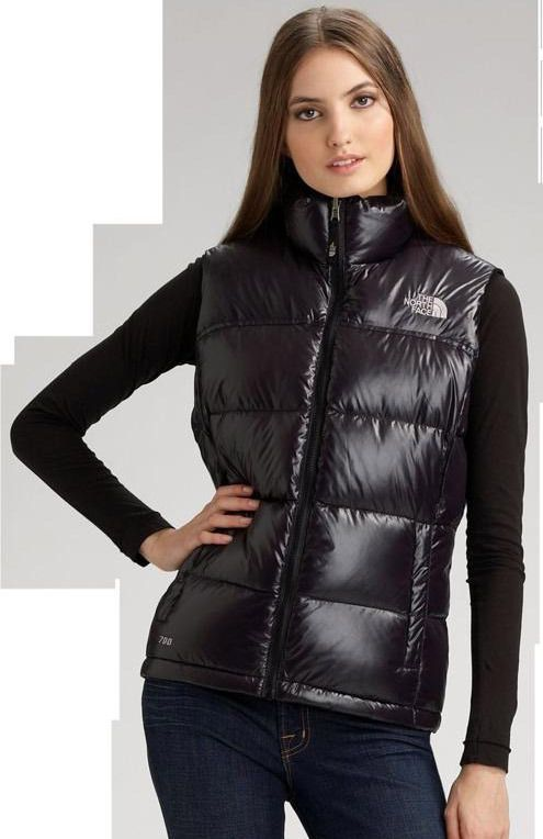 North face nuptse jacket shiny black