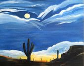 Desert Moon Sunset is a painting that was inspired from visiting my sister in Arizona.  Her house backs up to a desert setting with no houses and the last time I visited the moon was full. This is a 20x20x.75 stretched canvas original oil painting.  All the sides are painted and ready to go from the box to your nail!