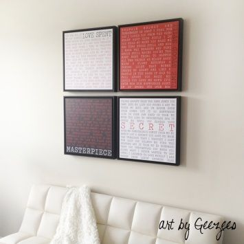 4 panel canvas display wall art black red white square art floating ...