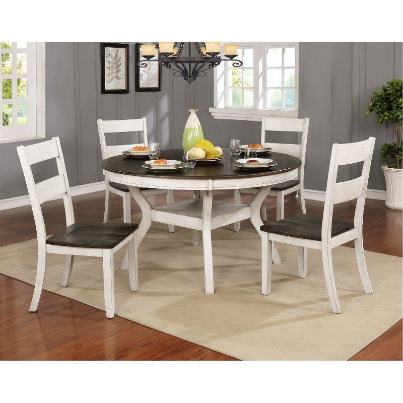 The Perrin Collection Comes Together Beautifully At Rc Willey In This White And Brown 7 Piece Din Side Chairs Dining Round Dining Table Round Dining Table Sets