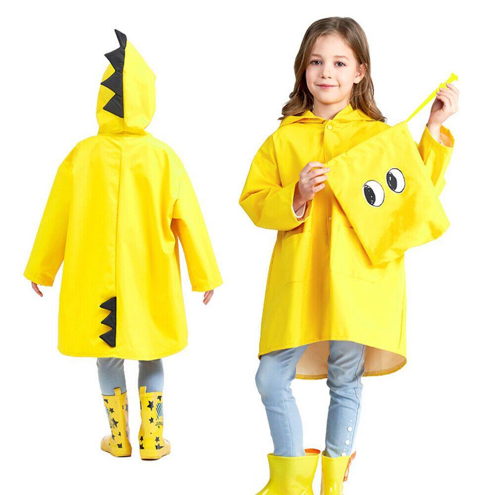 Cute Funny Kids Children Unisex Ponchos Cartoon Hoodie Outwear Cover Raincoats