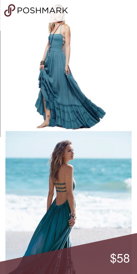 64b8562ad00 Summer Breeze Gauze Maxi Dress-Teal You ll feel so summery in this Boho  Chic backless halter style maxi dress. Top front is done with shirred  elastic and ...