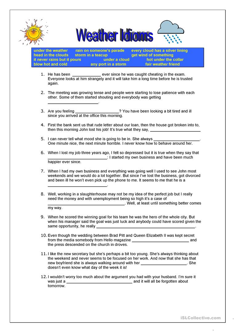 weather idioms worksheet - Free ESL printable worksheets made by teachers    Idioms [ 1079 x 763 Pixel ]