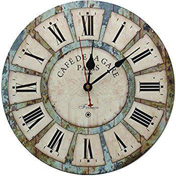 Amazon.com: Household Essentials Large Oversized Metal Vintage Clock ...