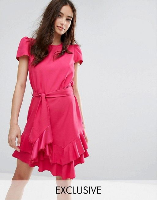 8a32a2c503e Miss Selfridge Exclusive Tie Waist Ruffle Dress