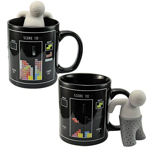 UCEC Heat Sensitive Color-changing Magic Coffee Mug - Tetris Game - With Mr. Tea Infuser