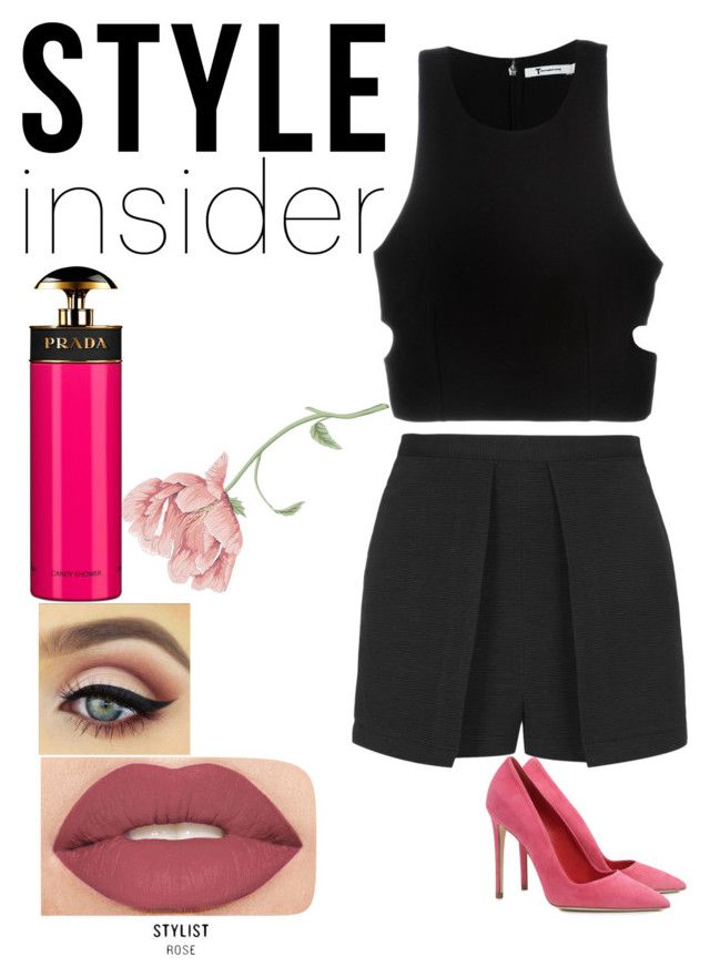 """HOT DATE !"" by ymayler ❤ liked on Polyvore featuring Topshop, Prada, T By Alexander Wang, Dee Keller, Smashbox, Pink, sweet and date"