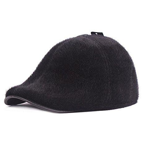 e32652b476bb8  13.99 Sumolux Mens Ear Flap PU Leather Beret Hat Faux Mink Fur newsboy IVY  Cabbie Cap