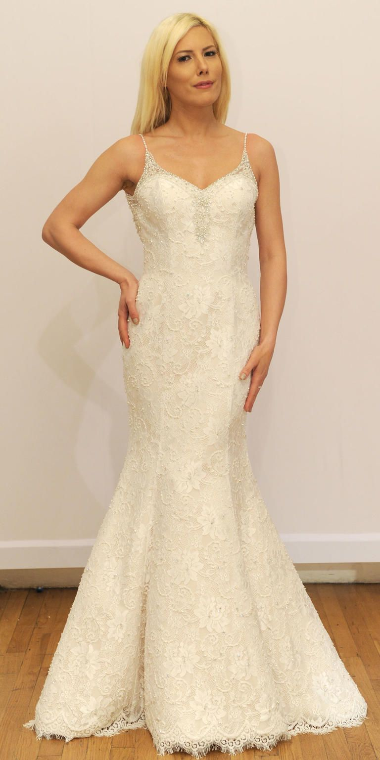Lace mermaid gown with spaghetti straps | Venus Bridal Spring 2017 | https://www.theknot.com/content/venus-bridal-wedding-dresses-bridal-fashion-week-spring-2017