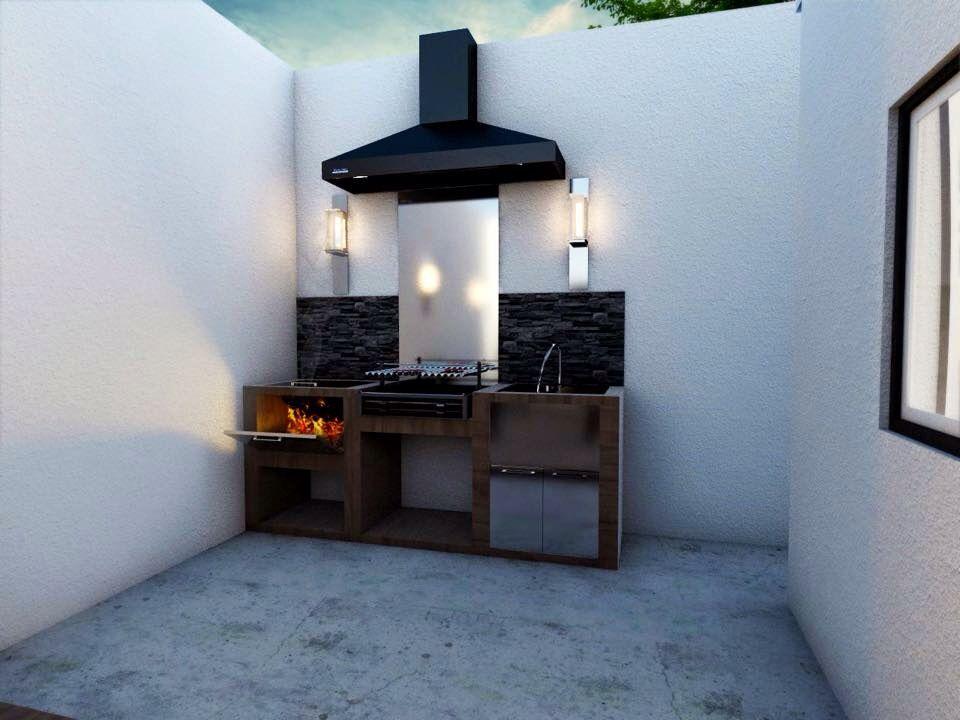 Asador moderno patios piscinas y barbacoas pinterest for Asador en patio pequeno